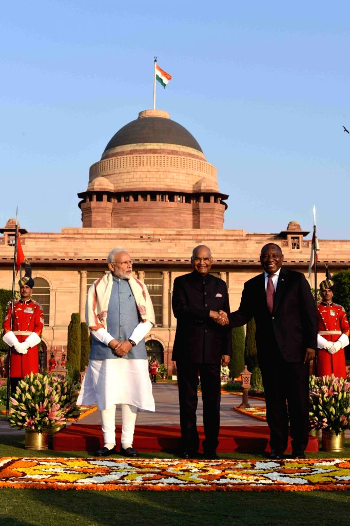 President Ram Nath Kovind, South African President Matamela Cyril Ramaphosa and Prime Minister Narendra Modi during 'At Home' reception organised at at Rashtrapati Bhavan in New Delhi, ... - Narendra Modi and Nath Kovind