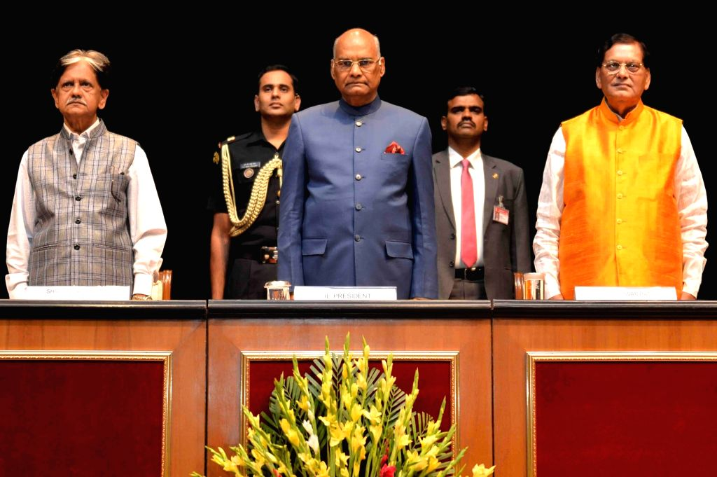 President Ram Nath Kovind, Sulabh International founder Bindeshwar Pathak and Congress leader Anil Shastri during the 18th Lal Bahadur Shastri National Award for excellence in public ... - Nath Kovind and Bindeshwar Pathak