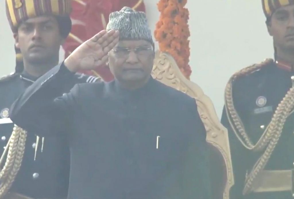President Ram Nath Kovind takes National Salute at Rajpath during the 71st Republic Day parade, in New Delhi on Jan 26, 2020. - Nath Kovind