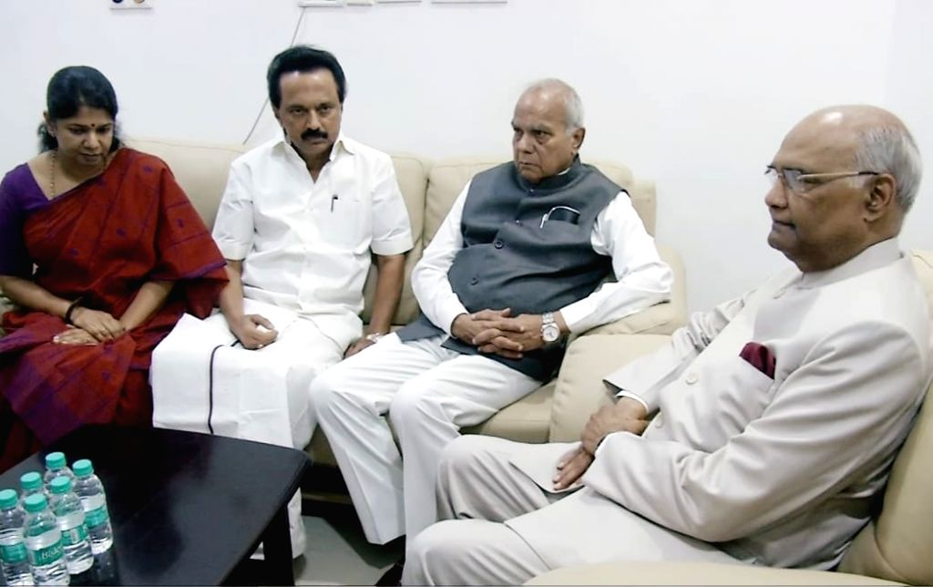 President Ram Nath Kovind visits at Kauvery Hospital where DMK President M Karunanidhi is being treated in Chennai on Aug 5, 2018. - Nath Kovind