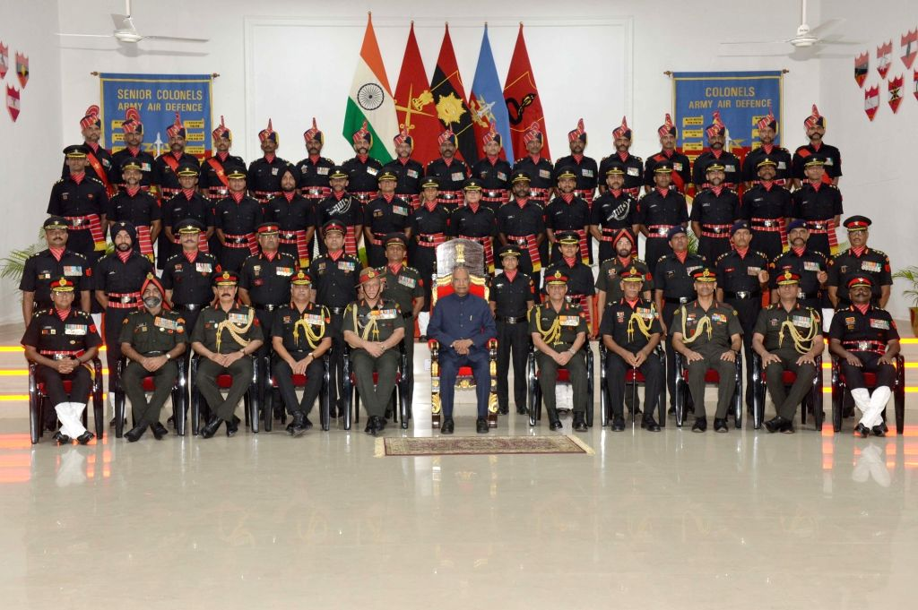 President Ram Nath Kovind with Army Chief General Bipin Rawat during a ceremony where he awarded President???s Colours to the Corps of Army Air Defence on completion of 25 yrs as an ... - Nath Kovind