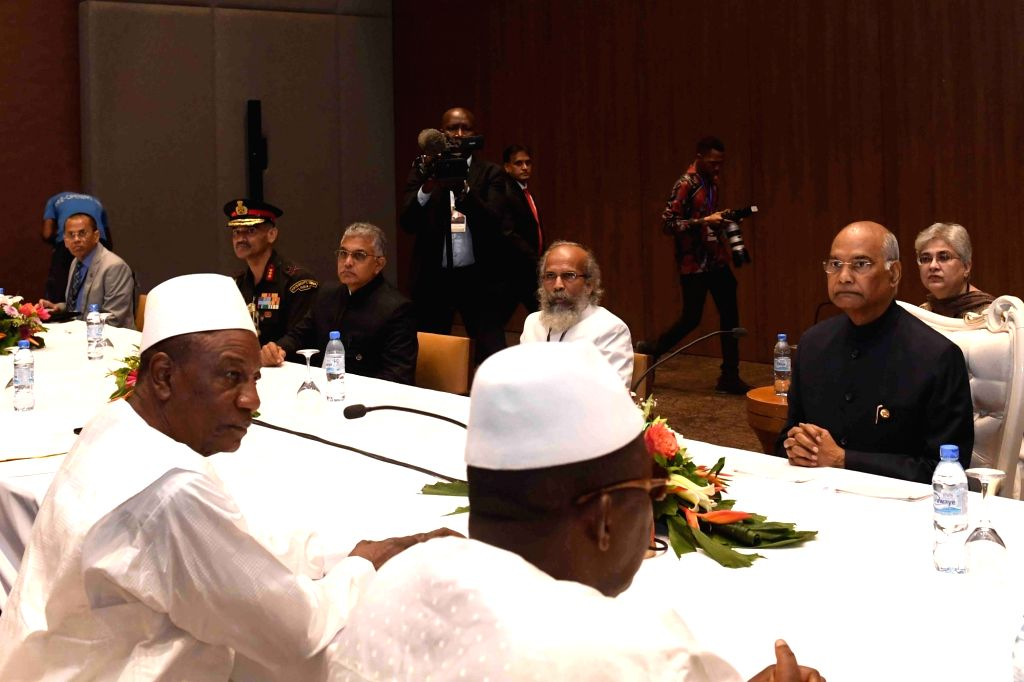 President Ram Nath Kovind with his Guinean counterpart Alpha Cond?? during delegation level talks, in Conakry on Aug 2, 2019. - Nath Kovind