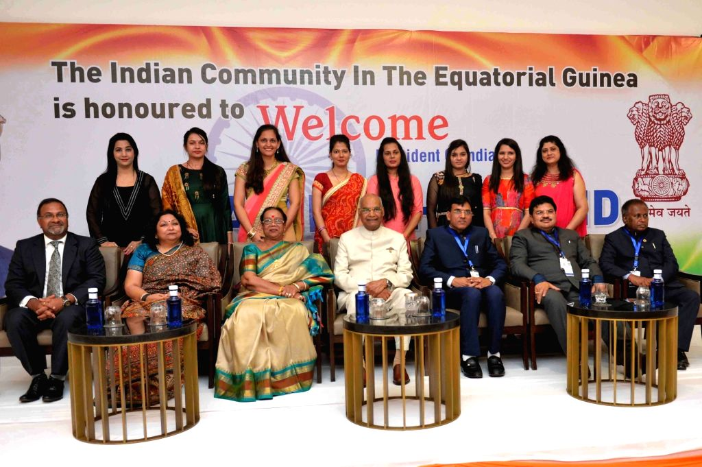 President Ram Nath Kovind with his wife Savita Kovind during a programme organised by the Indian community in Equatorial Guinea to welcome them, at a hotel in Malabo, Equatorial Guinea on ... - Nath Kovind
