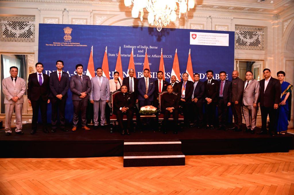 President Ram Nath Kovind with Indian Business delegation during the India-Switzerland Business Roundtable in Bern, Switzerland on Sep 13, 2019. - Nath Kovind
