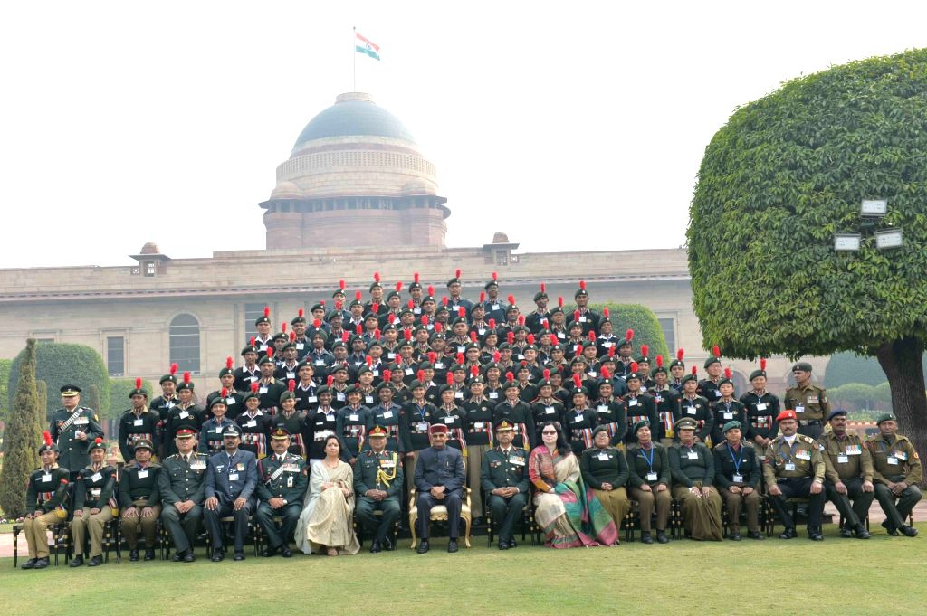 President Ram Nath Kovind with the participants of 2019 Republic Day parade during a programme at Rashtrapati Bhavan in New Delhi, on Jan 27, 2019. - Nath Kovind