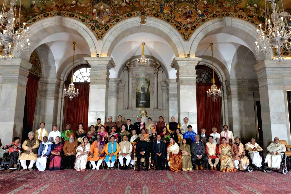 President Ram Nath Kovind with the recipients of Sangeet Natak Akademi Award 2017 at Rashtrapati Bhawan in New Delhi on Feb 6, 2019. The President on Wednesday presented the prestigious ... - Nath Kovind