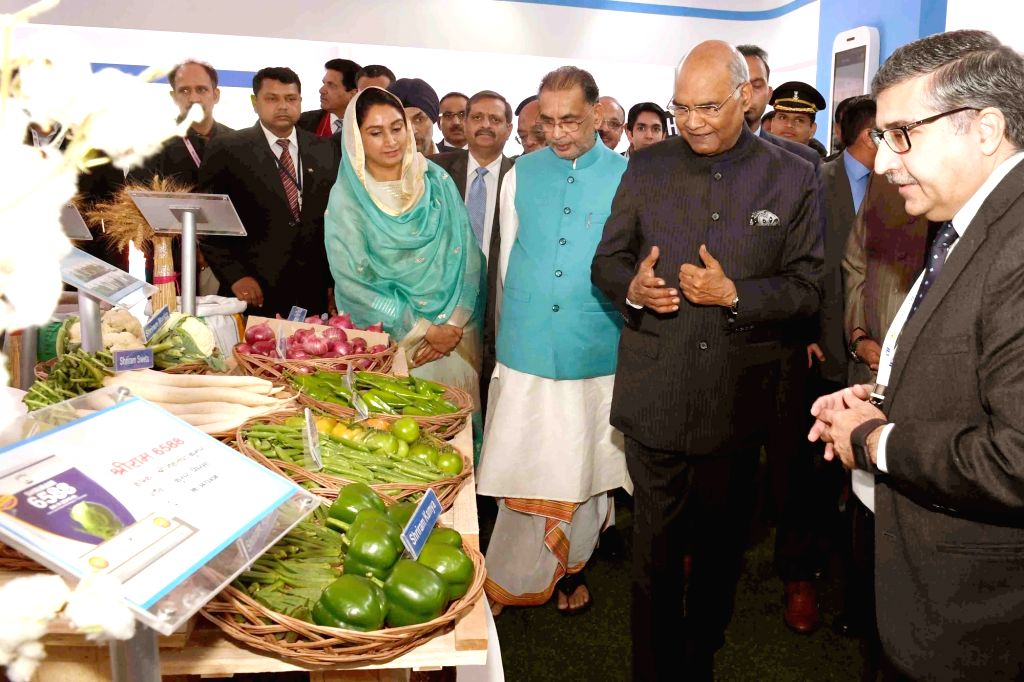 President Ram Nath Kovind with Union Agriculture and Farmers Welfare Minister Radha Mohan Singh and Union Food Processing Industries Minister Harsimrat Kaur Badal at the inauguration of ... - Radha Mohan Singh, Nath Kovind and Harsimrat Kaur Badal