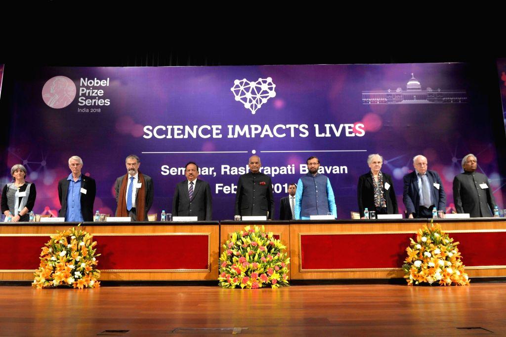 President Ram Nath Kovind with Union Ministers Harsh Vardhan, Prakash Javadekar and other dignitaries during the Nobel Laureate Seminar (as Part of Nobel Prize Series 2018) in New Delhi on ... - Harsh Vardhan, Prakash Javadekar and Nath Kovind