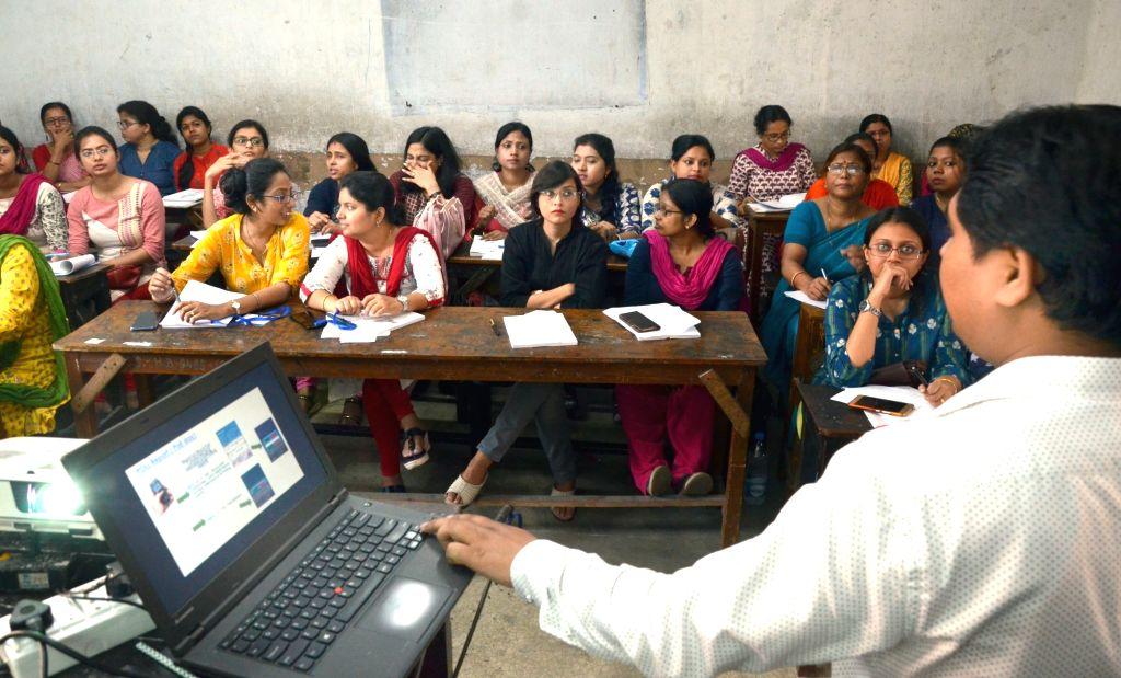 Presiding officers undergo training ahead of the second phase of 2019 Lok Sabha polls in Kolkata, on April 13, 2019.