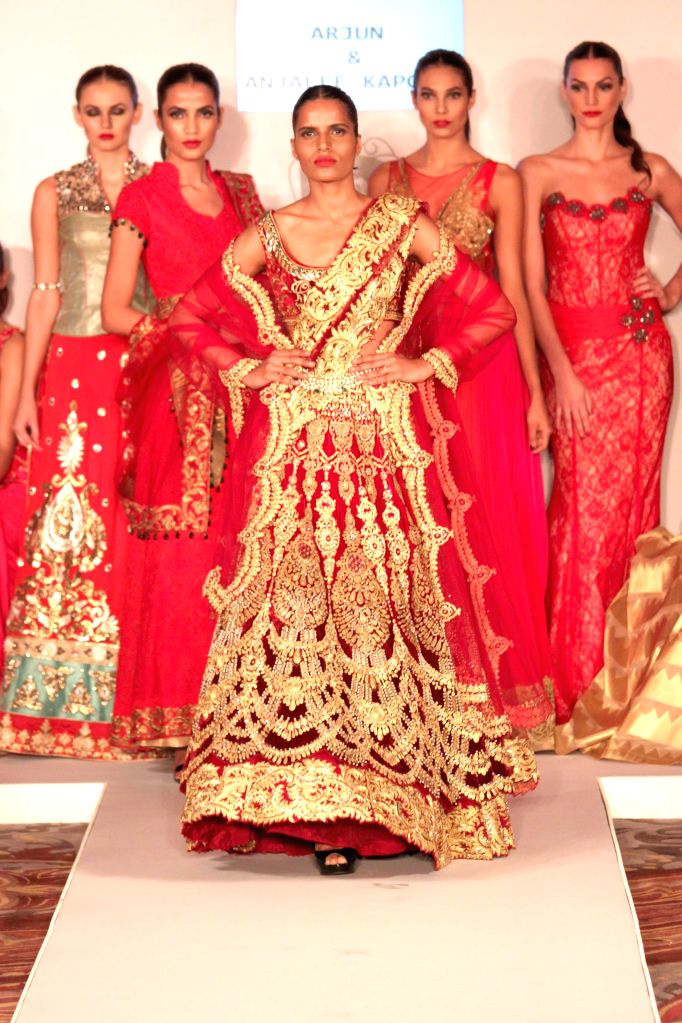 Press preview of `Runway Bridal`(Two day bridal extravaganza featuring latest trends in bridal wear) organized by Ramola Bachchan during the preview models showcasing the best of creations by ... - Ramola Bachchan, Manish Arora, Anju Modi, Suhel Seth, Leena Singh and Gaurav Gupta