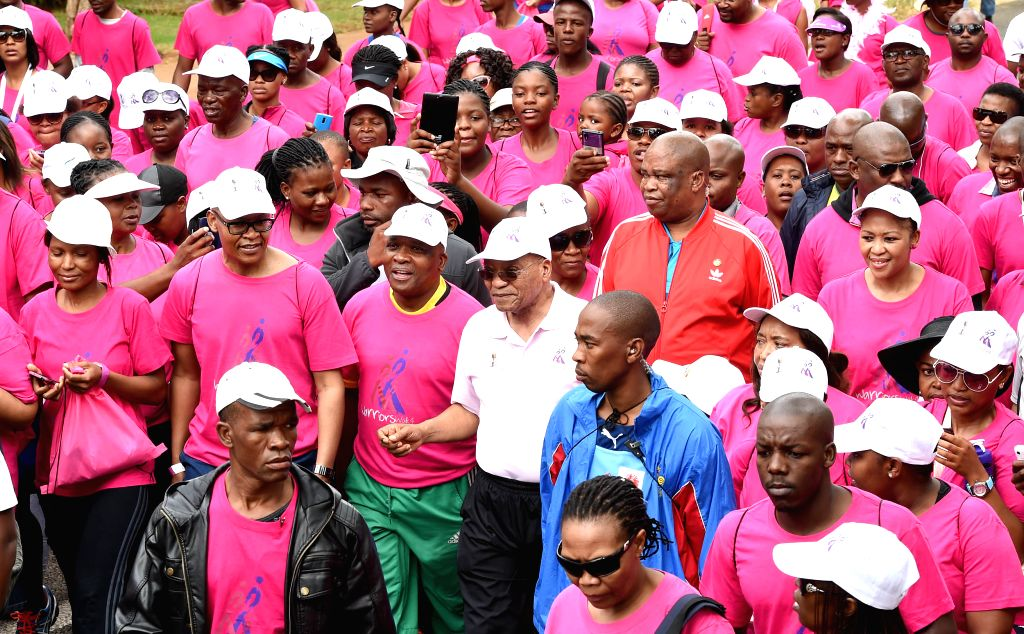 South Africa's President Jacob Zuma (C) attends the Warriors Walking for Cancer 2015 in Pretoria, South Africa, on Feb. 28, 2015. The Warriors Walking for Cancer ...