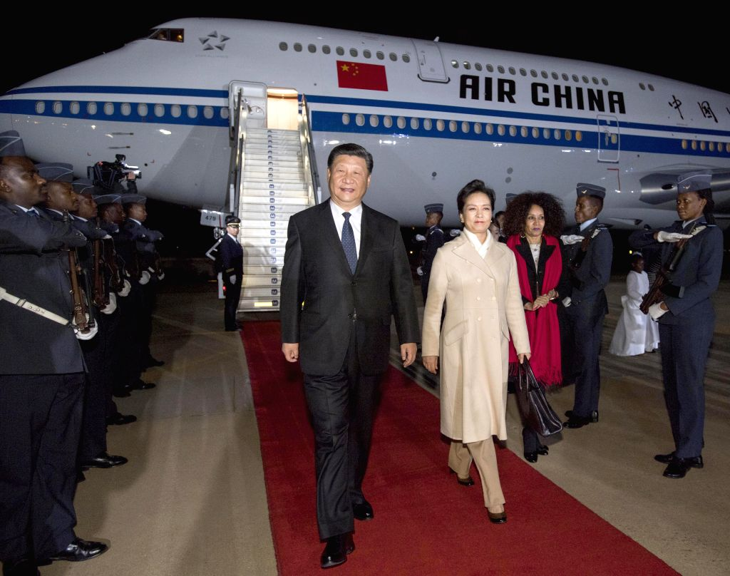 PRETORIA, July 23, 2018 - Chinese President Xi Jinping arrives in Pretoria for a state visit to South Africa, July 23, 2018. Xi and his wife, Peng Liyuan, were greeted by high-ranking South African ...