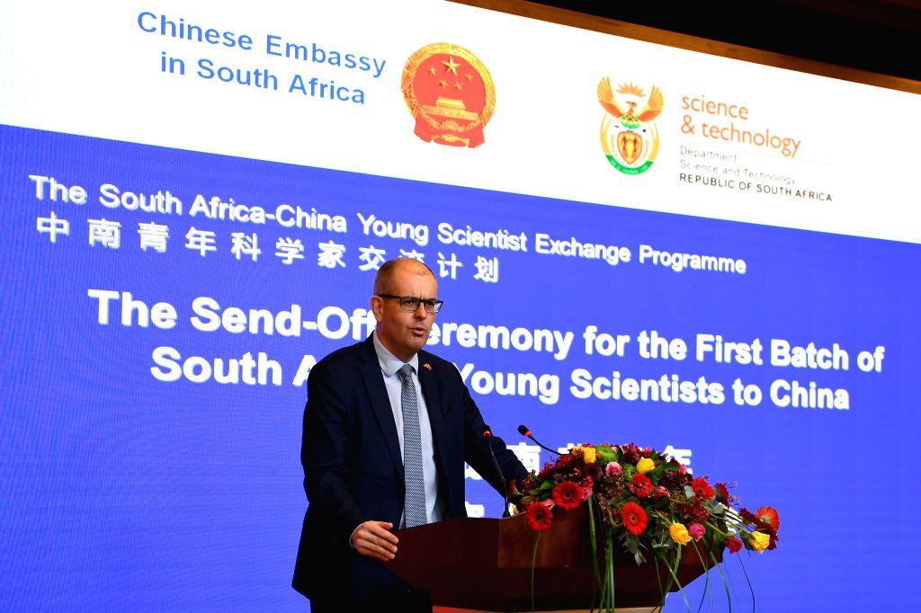 PRETORIA, May 1, 2019 - Daan du Toit, Deputy Director-General in the South African Department of Science and Technology, speaks during a send-off ceremony hosted by the Chinese embassy in Pretoria, ...