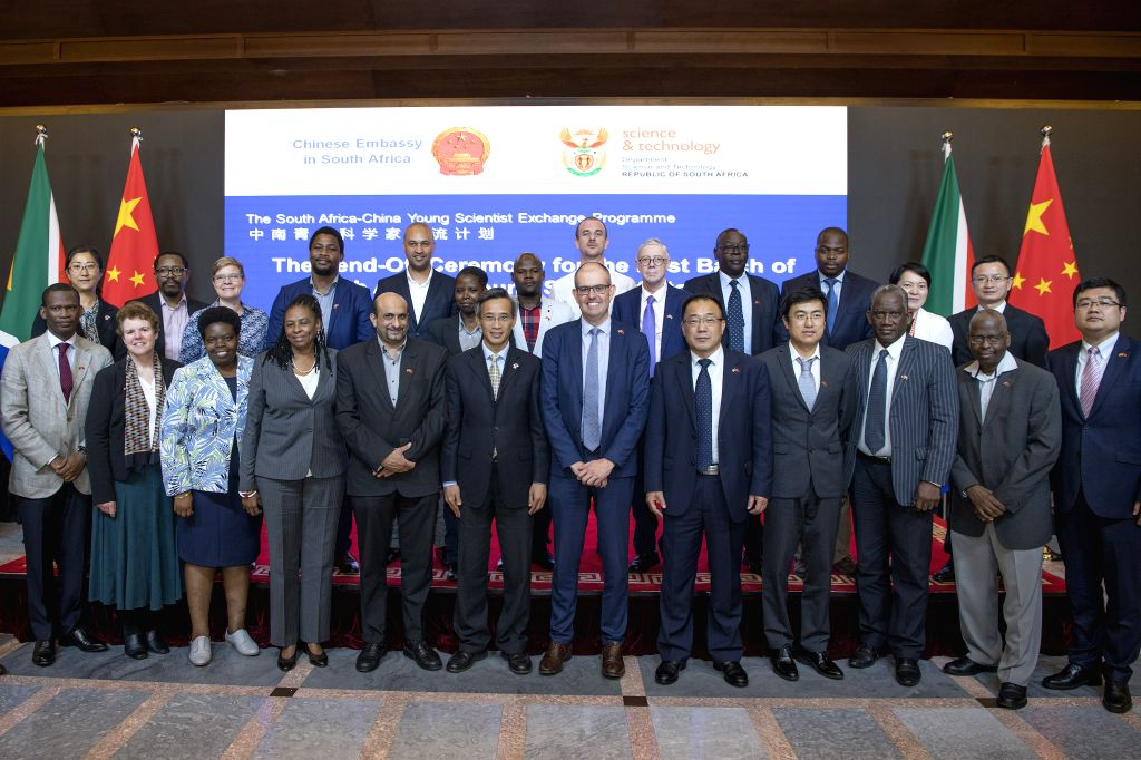 PRETORIA, May 1, 2019 - Young scientists and guests pose for a group photo during a send-off ceremony hosted by the Chinese embassy in Pretoria, South Africa, April 30, 2019. A group of seven young ...