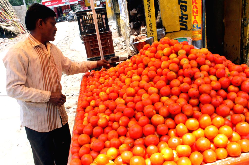 Prices of tomatoes soar as high as Rs. 40-50 per kg in Hyderabad on July 8, 2014.