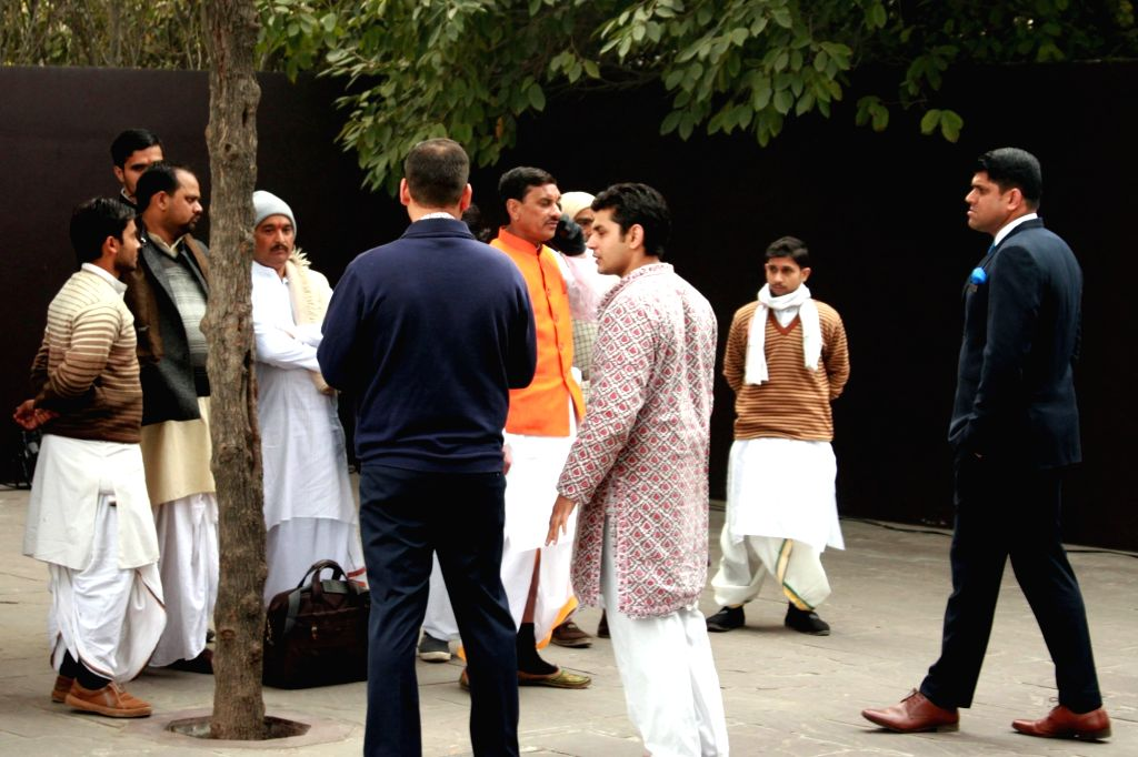 Priests arrive at the venue of actress Asin and Micromax co-founder Rahul Sharma`s wedding in New Delhi on Jan 19, 2016.