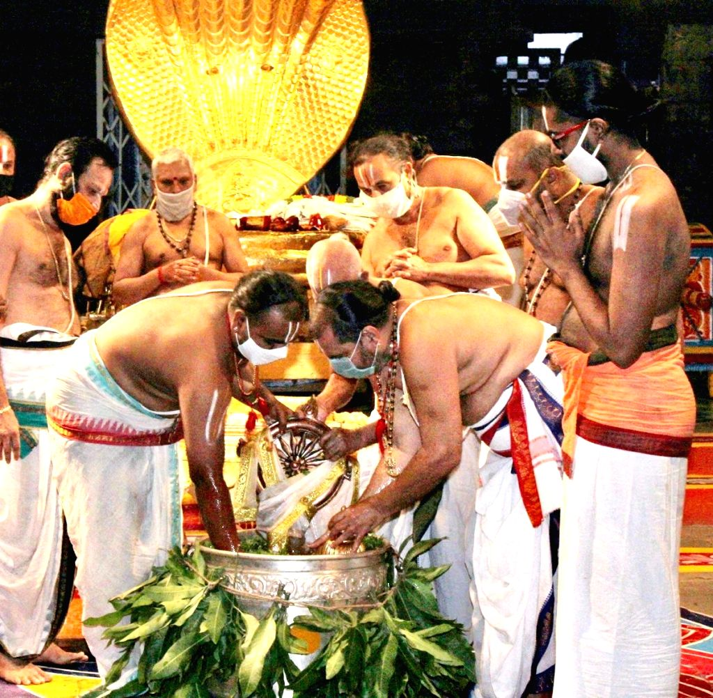 Priests perform Anantha Padmanabha Vratham Puja (prayers offered to lord Vishnu on Anant Chaturdashi) at Tirumala Srivari temple at Tirumala in Chittoor district of Andhra Pradesh on Sep 1, ...