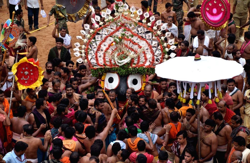 Priests performs rituals of lord Jagannath during Ulta Rath Yatra -Return Journey- in Puri of Odisha on July 14, 2016.