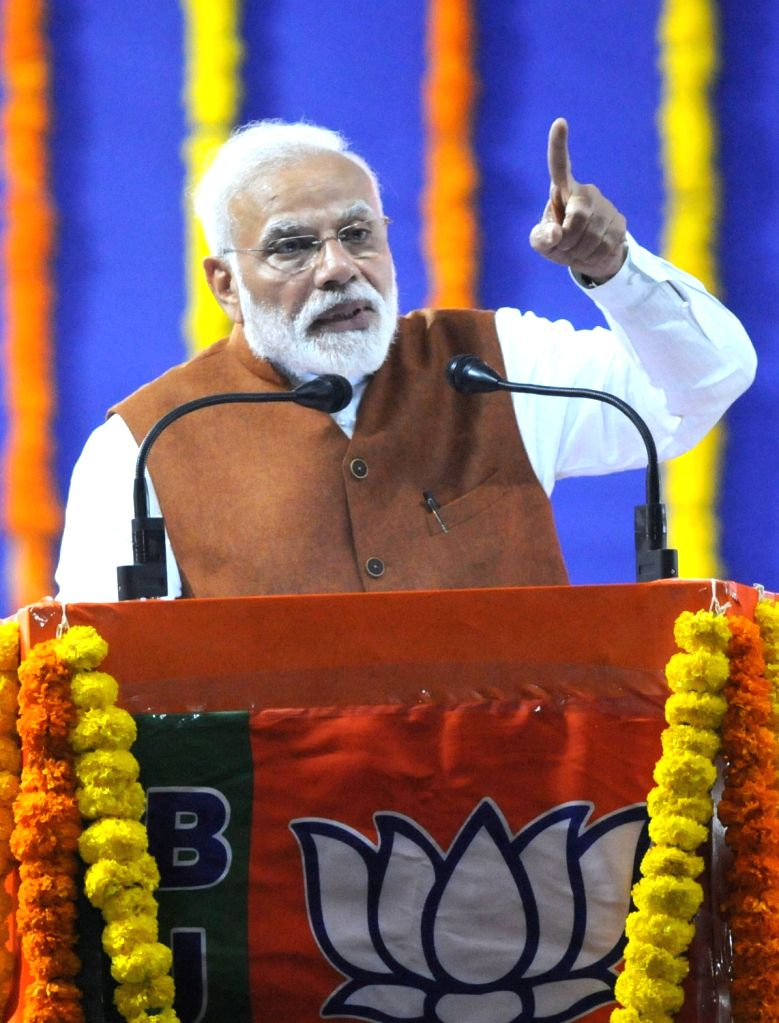 Prime Minister and BJP leader Narendra Modi addresses during a party rally in Hubballi of Karnataka on Feb 10, 2019. - Narendra Modi