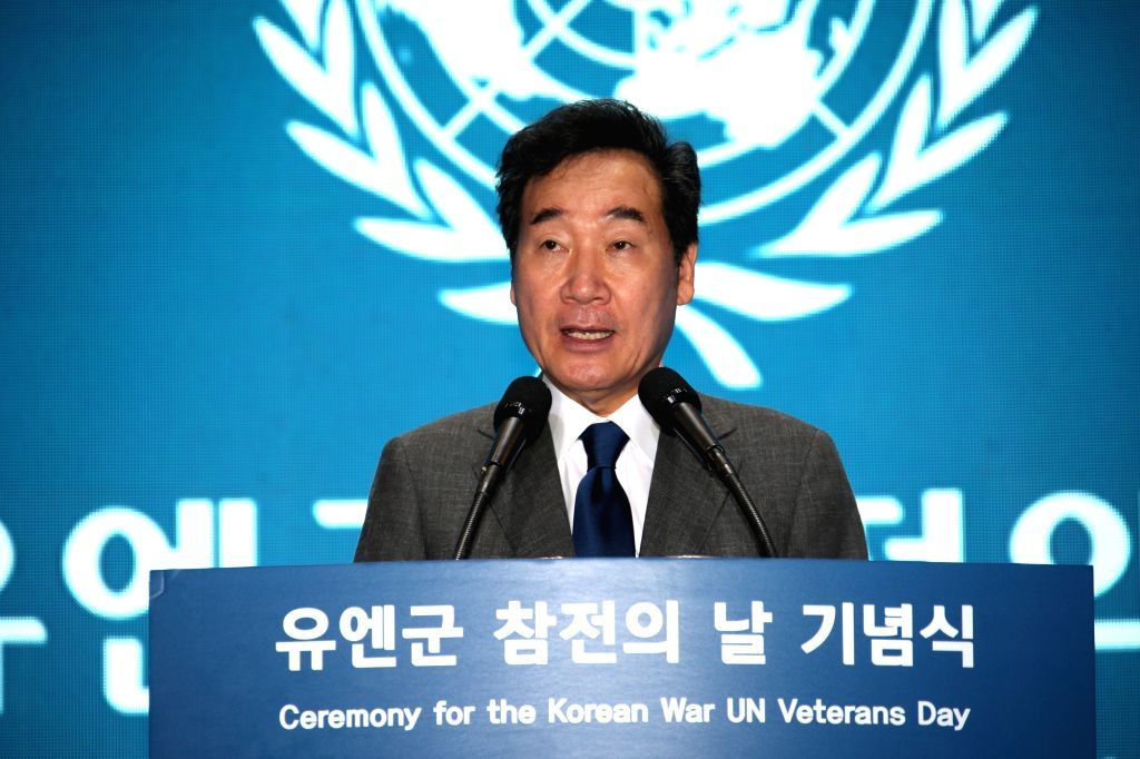 Prime Minister Lee Nak-yon speaks at a ceremony marking U.N. Forces Participation Day in Seoul on July 27, 2019. The day was designated to honor members of the U.N. forces who fought with ... - Lee Nak