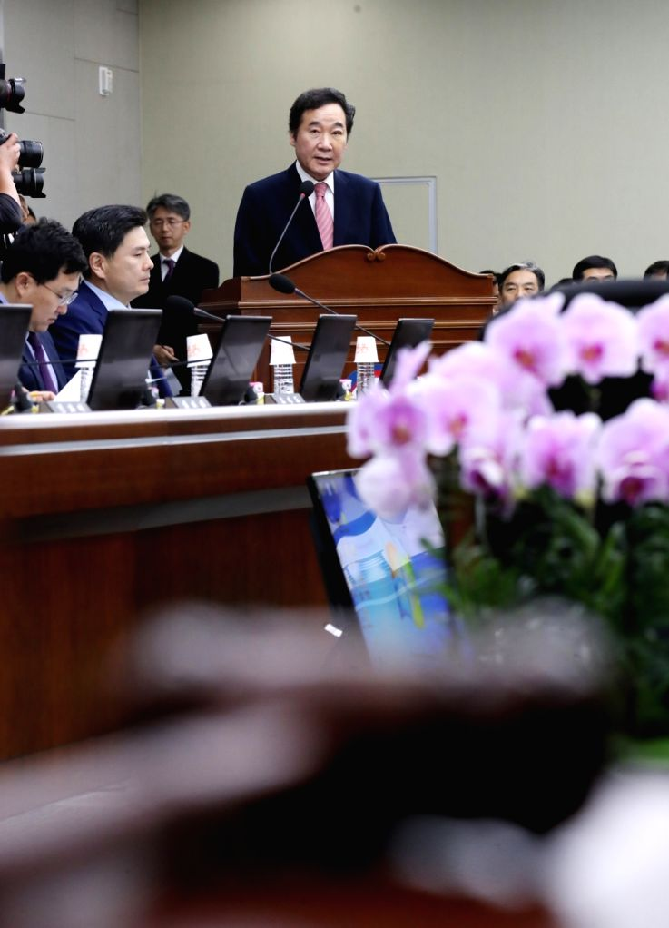 Prime Minister Lee Nak-yon speaks at the start of a parliamentary audit of his office at the government building in Seoul on Oct. 12, 2017, as the parliament's annual inspection of state ... - Lee Nak