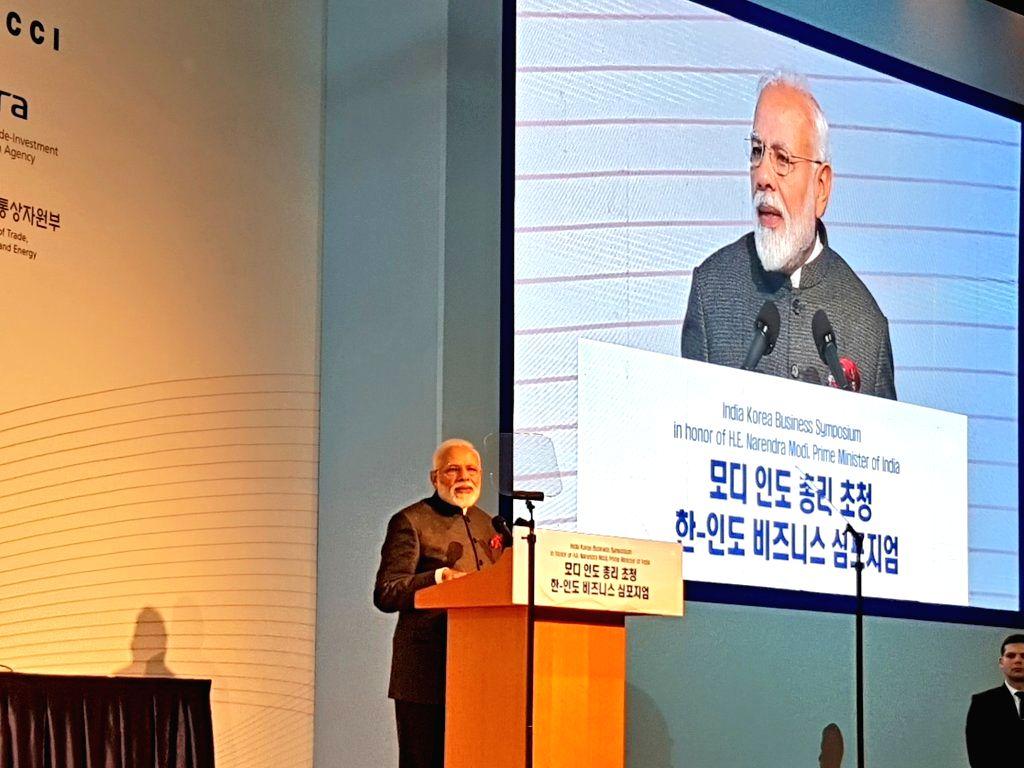 Prime Minister Narendra addresses at the India-Korea Business Symposium, in Seoul, South Korea, on Feb 21, 2019. - Narendra