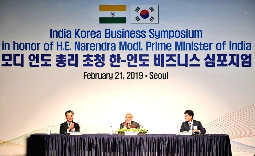 Prime Minister Narendra at the India-Korea Business Symposium, in Seoul, South Korea, on Feb 21, 2019. - Narendra