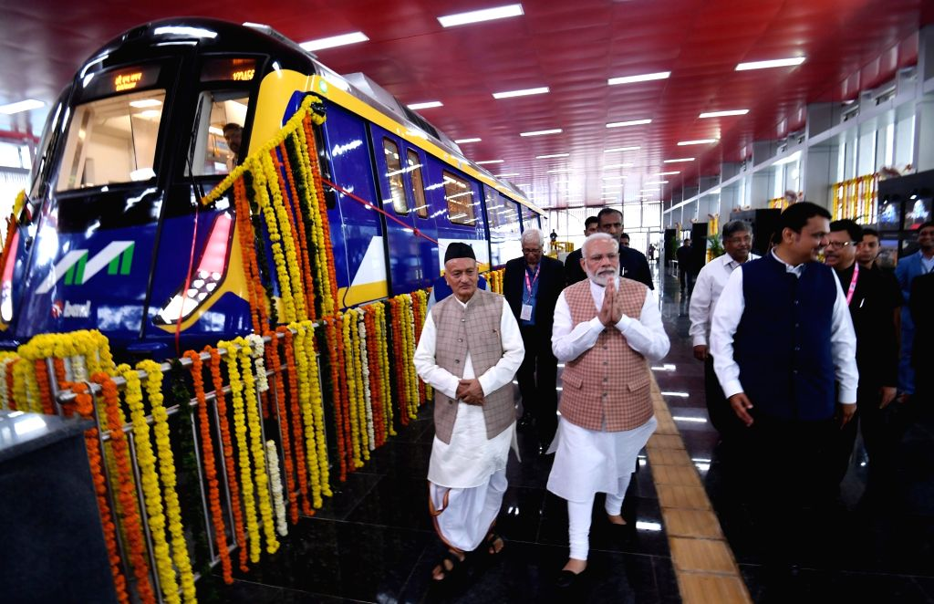 Prime Minister Narendra Modi accompanied by Maharashtra Governor Bhagat Singh Koshyari and Chief Minister Devendra Fadnavis, visits Metro Coach Exhibition after inaugurating it, in Mumbai on ... - Narendra Modi and Bhagat Singh Koshyari