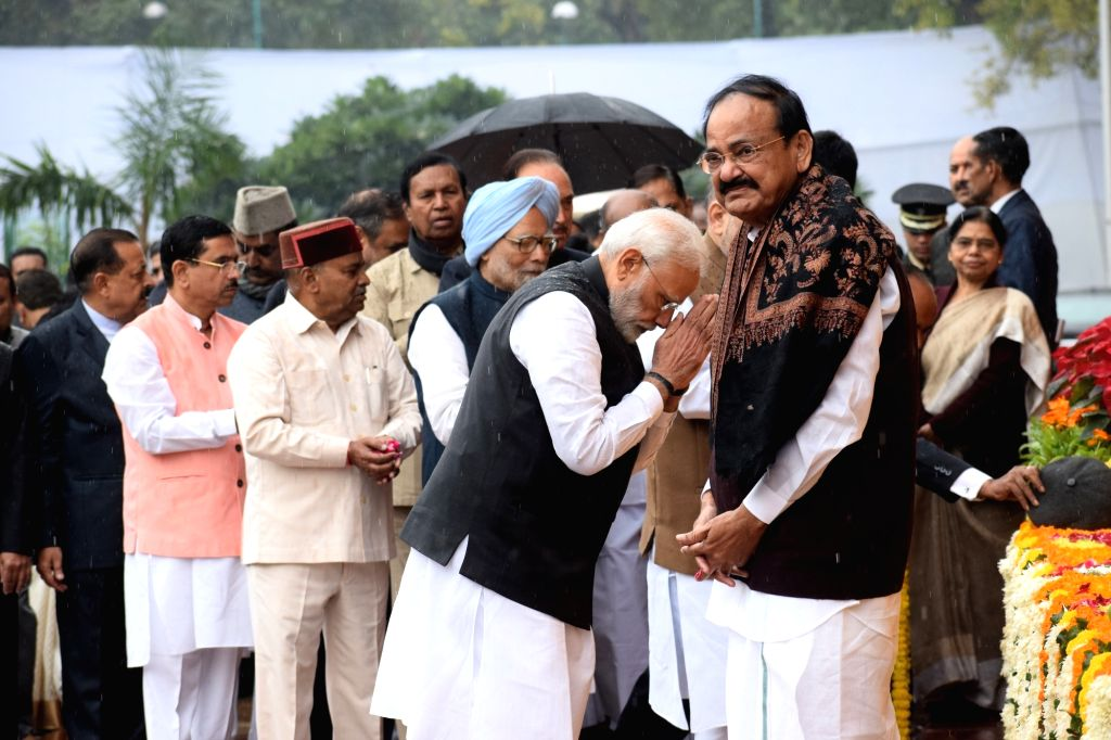 Prime Minister Narendra Modi accompanied by Former Prime Minister Manmohan Singh and Vice President M. Venkaiah Naidu, pays tributes to the martyrs on 18th anniversary of Parliament attack ... - Narendra Modi, M. Venkaiah Naidu and Manmohan Singh