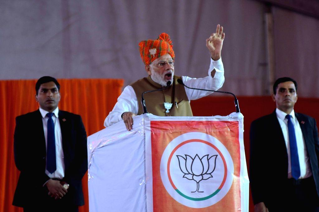 Prime Minister Narendra Modi addresses a BJP rally in Jaipur on Dec 4, 2018. - Narendra Modi