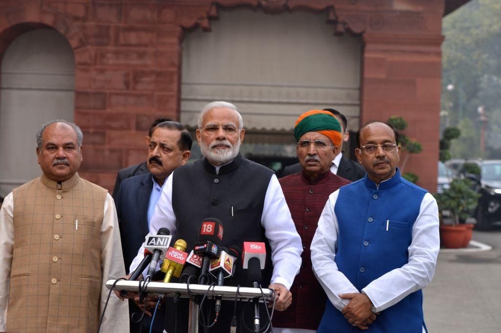 Prime Minister Narendra Modi addresses a media persons ahead of the winter session of Parliament in New Delhi on Dec 11, 2018. - Narendra Modi