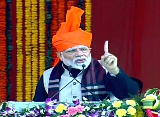 Prime Minister Narendra Modi addresses a public meeting in Jammu, on Feb 3, 2019. - Narendra Modi