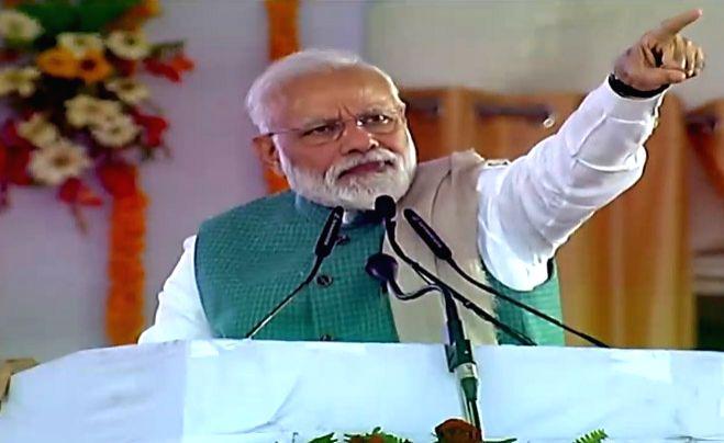 Prime Minister Narendra Modi addresses a public meeting in Amethi, Uttar Pradesh, on March 3, 2019. - Narendra Modi