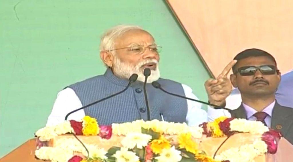 Prime Minister Narendra Modi addresses a public meeting in Madhya Pradesh's Dhar, on March 5, 2019. - Narendra Modi