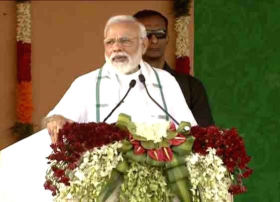 Prime Minister Narendra Modi addresses a public meeting in Tamil Nadu's Kancheepuram, on March 6, 2019. - Narendra Modi