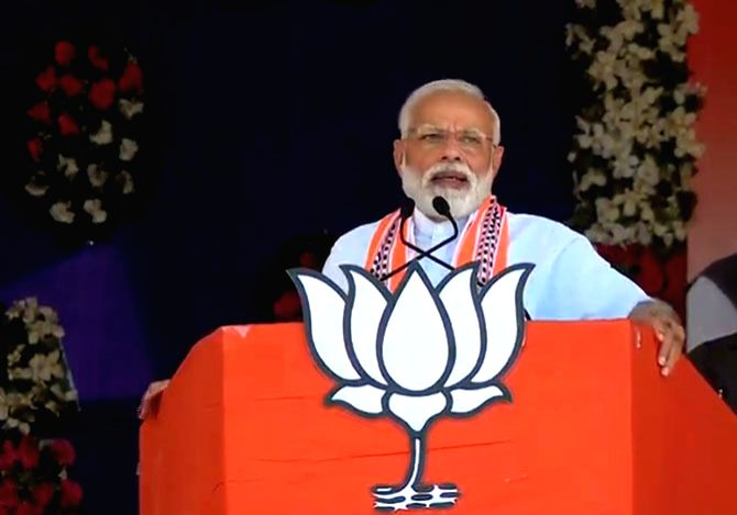 Prime Minister Narendra Modi addresses a public rally in Gujarat's Junagarh, on April 10, 2019. - Narendra Modi