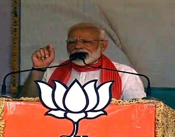 Prime Minister Narendra Modi addresses a public rally in Uttar Pradesh's Kannauj, on April 27, 2019. - Narendra Modi