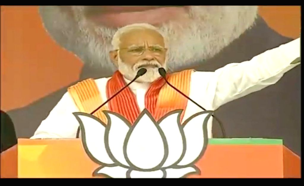 Prime Minister Narendra Modi addresses a public rally in Bhadohi, Uttar Pradesh, on May 5, 2019. - Narendra Modi