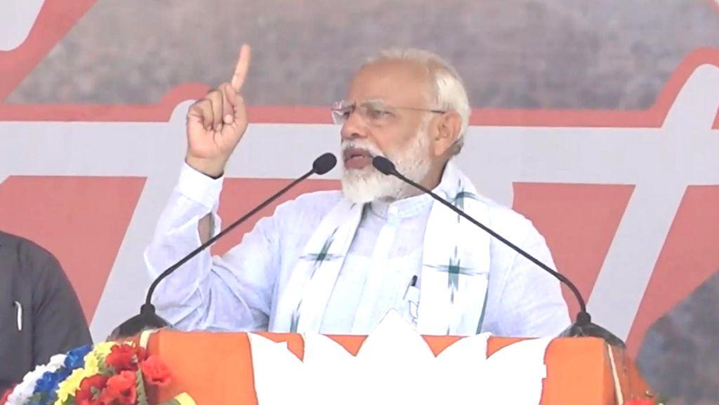Prime Minister Narendra Modi addresses a public rally in Tamluk, West Bengal on May 6, 2019. - Narendra Modi
