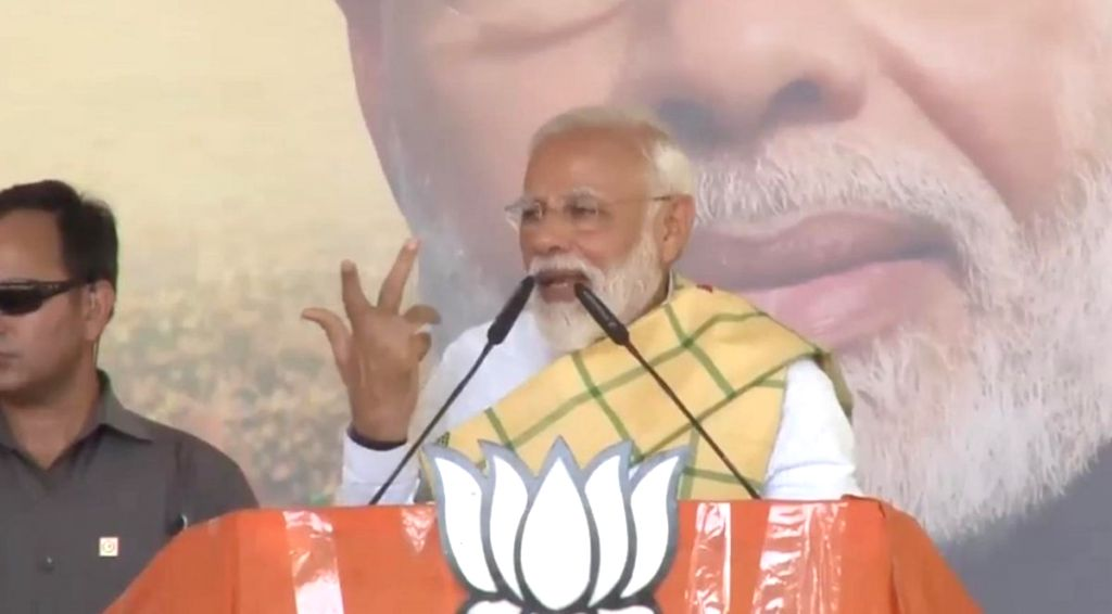 Prime Minister Narendra Modi addresses a public rally in Jhargram, West Bengal, on May 6, 2019. - Narendra Modi