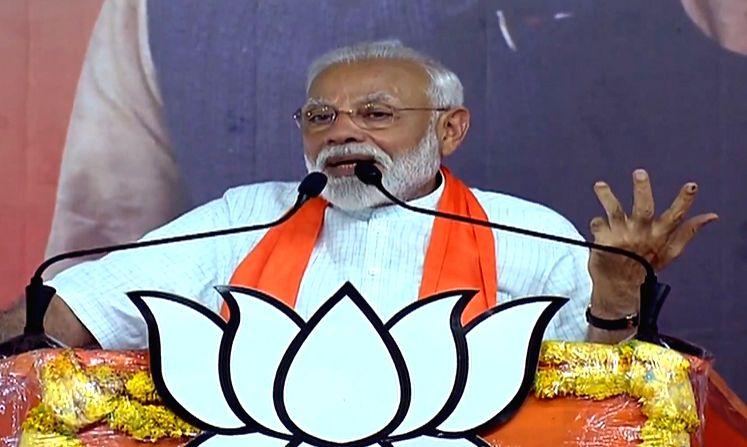 Prime Minister Narendra Modi addresses a public meeting in Ahmedabad on May 26, 2019. - Narendra Modi