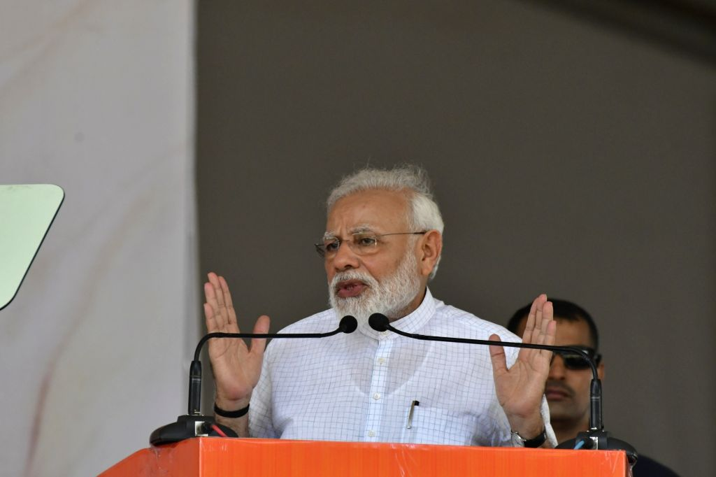Prime Minister Narendra Modi addresses a rally ahead of the upcoming Haryana Assembly Elections in Rohtak, Haryana on Sep 8, 2019. - Narendra Modi