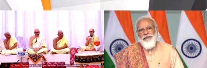Prime Minister Narendra Modi addresses after unveiling the 151-inch 'Statue of Peace' of Jain Acharya Vijay Vallabh Surishwar via videoconference on his 151th birth anniversary, in New ... - Narendra Modi