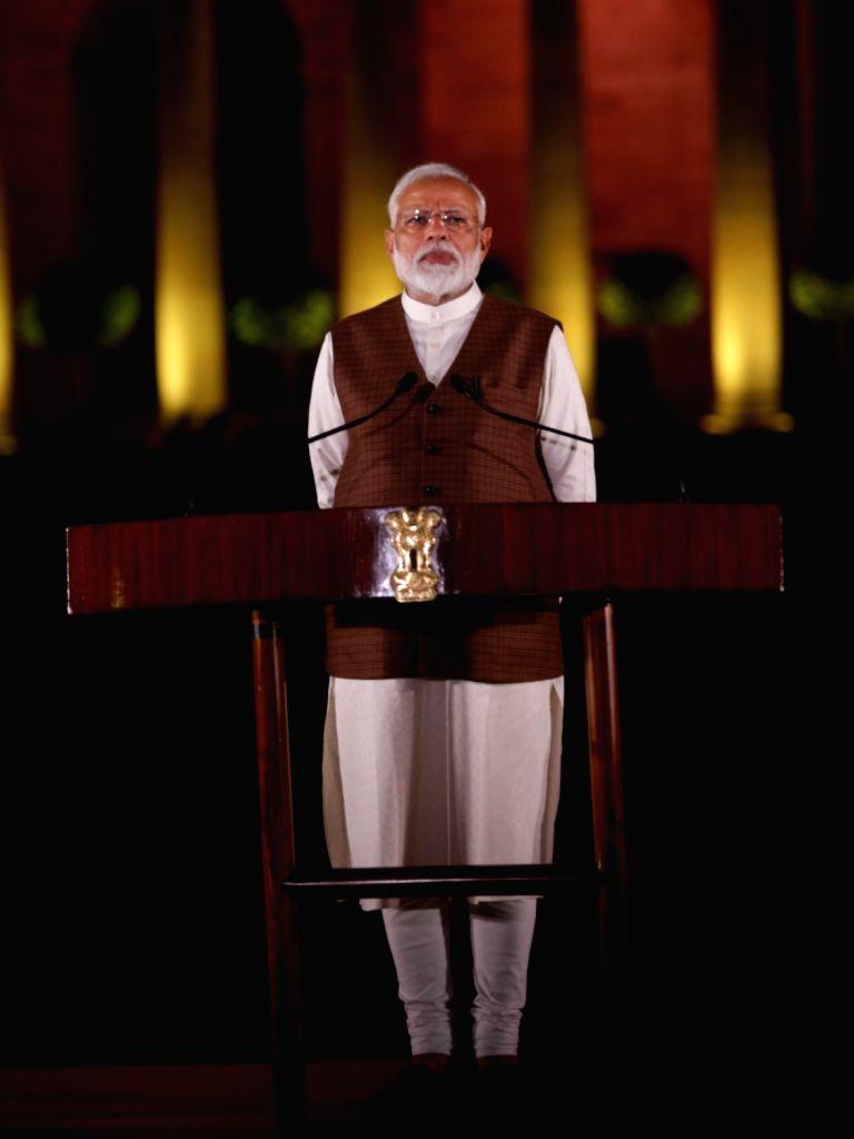 Prime Minister Narendra Modi addresses after meeting President Ram Nath Kovind at Rashtrapati Bhavan in New Delhi, on May 25, 2019. - Narendra Modi and Nath Kovind