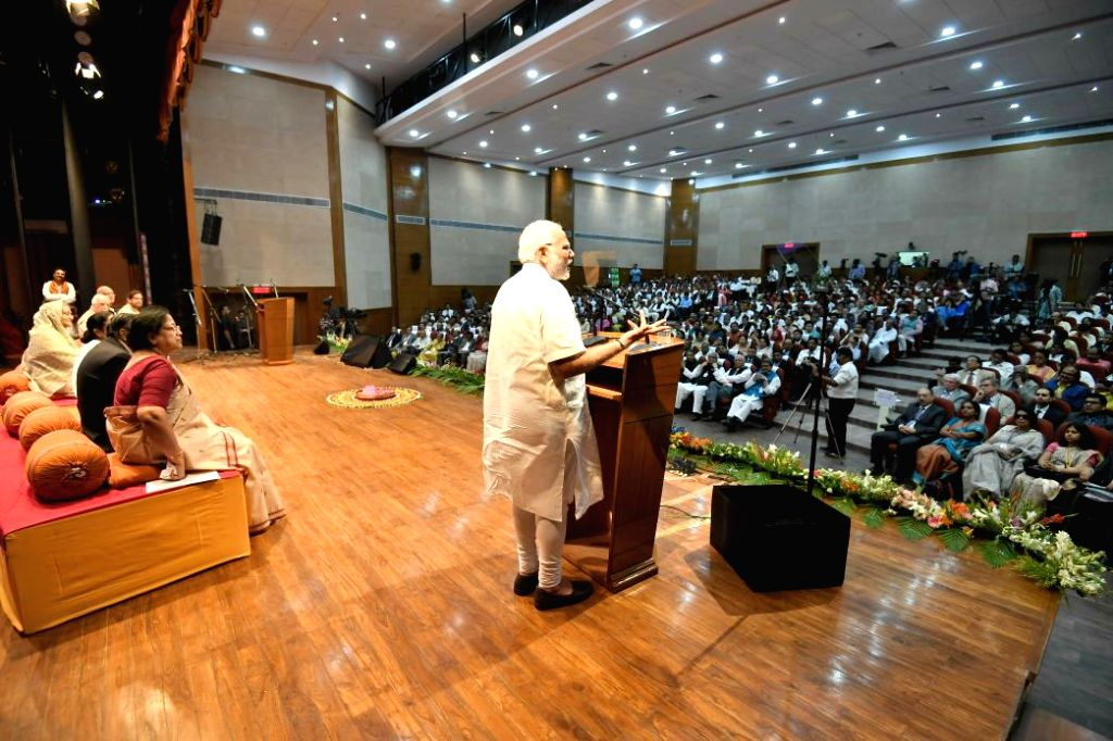 Prime Minister Narendra Modi addresses after the inauguration of the Bangladesh Bhavan at Santiniketan, in West Bengal on May 25, 2018. - Narendra Modi