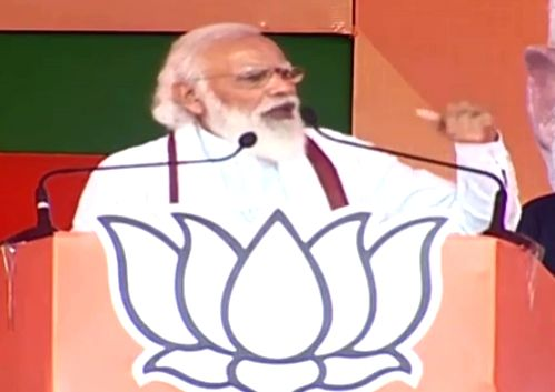 Prime Minister Narendra Modi addresses an election rally ahead of the remaining two phases of the Bihar Assembly polls, in Muzaffarpur on Oct 28, 2020. - Narendra Modi