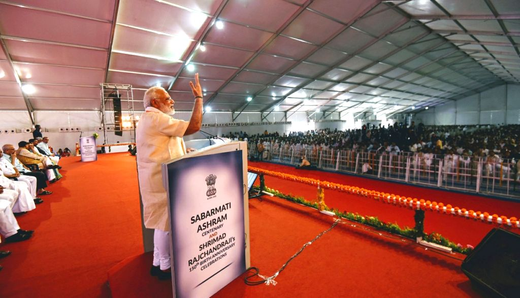Prime Minister Narendra Modi addresses at Sabarmati Ashram event in Ahmedabad, Gujarat on June 29, 2017. - Narendra Modi