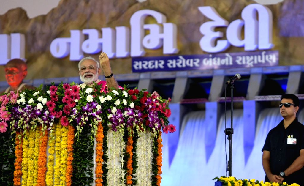 Prime Minister Narendra Modi addresses at a public meeting in Dabhoi, Gujrat on Sept 17, 2017. - Narendra Modi