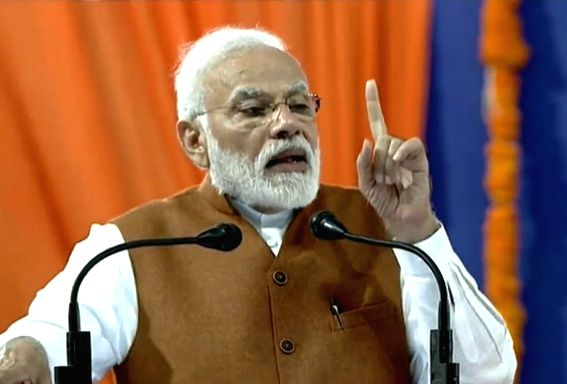 Prime Minister Narendra Modi addresses at a public meeting in Hubballi, Karnataka on Feb 10, 2019. - Narendra Modi