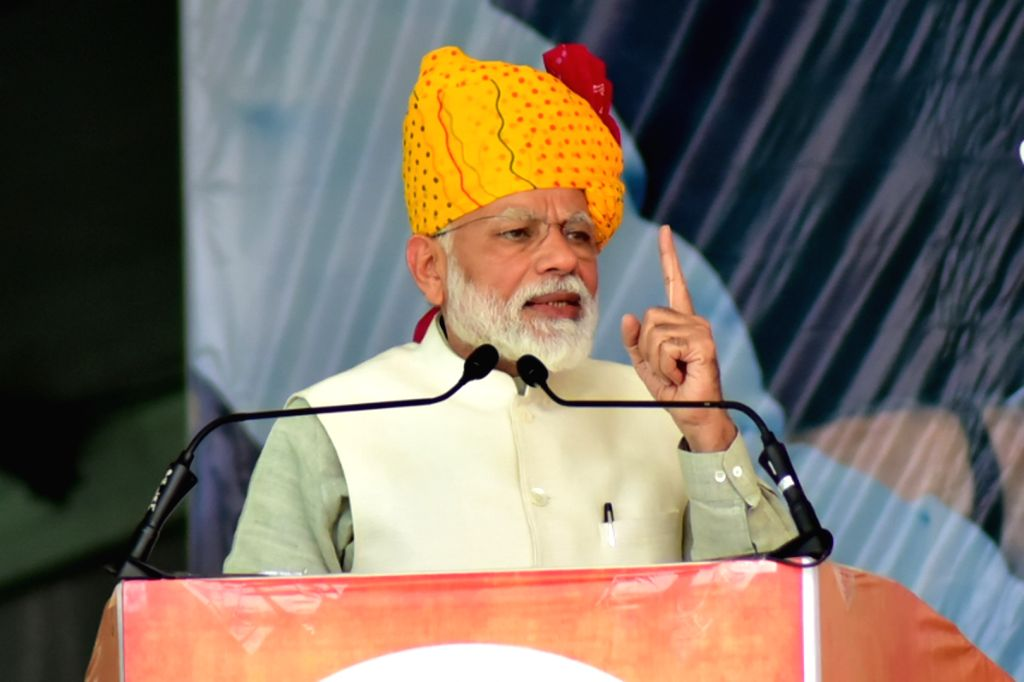 Prime Minister Narendra Modi addresses at a public meeting in Rajasthan's Tonk district  on Feb 23, 2019. - Narendra Modi